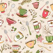 Seamless background of tea cups and spoons