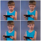boy playing video games on the tablet computer, four photos in one