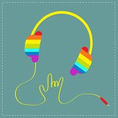 Rainbow headphones with cord in shape of hand. Rock and roll sign. Blue background. Music card.