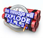 This Message Will Explode in 5 seconds words time bomb countdown deadline