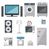 pic of household  - vector household appliances icons set on white background - JPG