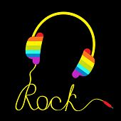 Rainbow Headphones With Cord In Shape Of Word Rock. Music Card.
