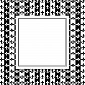 Black And White Fleur De Lis Pattern Textured Fabric With Frame Background