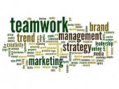 High resolution concept or conceptual abstract teamwork and success word cloud or wordcloud isolated
