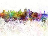 Sacramento Skyline In Watercolor Background