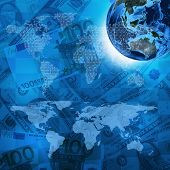Earth, world map on money background
