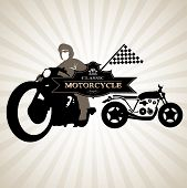 Silhouettes Of Motorcycle and Frame black vintage