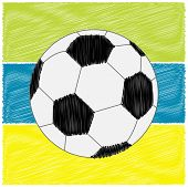 Football Soccer Ball On Strips. Scribble Effect. Flat Design Style.
