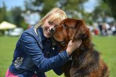 foto of tibetan  - Tibetan Mastiff at the dog show in the spring