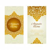 Vintage greeting cards  in east style gold color