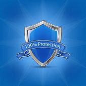 Blue glossy label shield with ribbon on blue background. 100% Protection concept. Vector illustratio