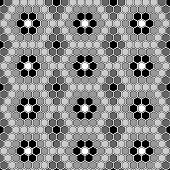 Design Seamless Monochrome Mosaic Hexagon Pattern