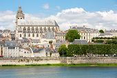 Cityscape of Blois with Cathedral over Loire river France