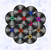 Many Music Vinyls Abstract Background