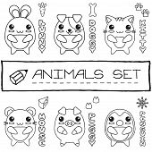 Hand drawn set of japanese style baby animals.