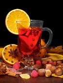 Cup of mulled wine with orange slice