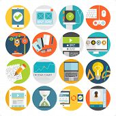 Set of Flat Style Icons. Mobile Phones, Tablet PC and Communication Technologies, Idea Concept with