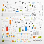 Set of Timeline Infographic Design Templates. Charts, Diagrams and other Vector Elements for Data and Statistics Presentation