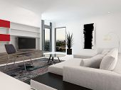 Modern living room interior with a large television set in wall-mounted cabinets, a large upholstere