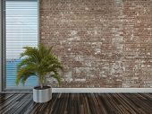 Modern rustic face brick interior decor with an empty room with a potted palm on a wooden parquet fl