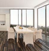 Modern dining room interior in an apartment or house with a wicker suite on a parquet floor and larg