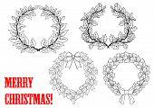 Christmas holly round wreaths