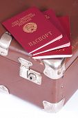 Passports On An Old Suitcase