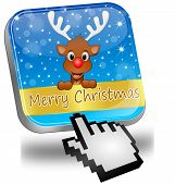 Reindeer wishing Merry Christmas Button and cursor