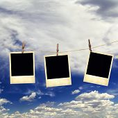 Old Instant Photos On The Background Of The Sky With Clouds