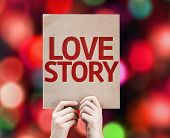Love Story card with colorful background with defocused lights
