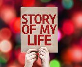 Story Of My Life card with colorful background with defocused lights