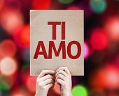 I Love You (In Italian) card with colorful background with defocused lights