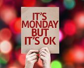 It's Monday But It's Ok card with colorful background with defocused lights