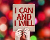 I Can and I Will card with colorful background with defocused lights