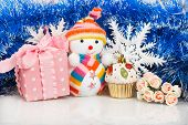 Snowman With Pink Gift Box And White Snowflakes