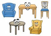Cartooned furniture set with smiles