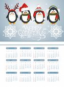 Merry Christmas card with penguins