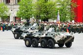 MOSCOW - 6 May 2010: BTR-80. Dress rehearsal of Military Parade on 65th anniversary of Victory in Great Patriotic War on May 6, 2010 on Red Square in Moscow, Russia