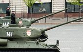 MOSCOW - 6 May 2010: Tank T34, Dress rehearsal of Military Parade on 65th anniversary of Victory in Great Patriotic War on May 6, 2010 on Red Square in Moscow, Russia