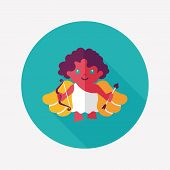 Valentine's Day Cupid Flat Icon With Long Shadow,eps10