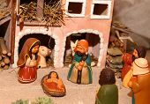 stock photo of nativity scene  - statues of the Nativity scene with Holy Family in South American style - JPG
