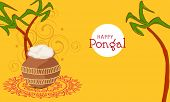 Happy Pongal, South Indian harvesting festival celebrations with rice in traditional mud pot and sugarcane on floral decorated yellow background.