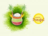 Traditional mud pot with rice, sugarcane and wheat grain on color splash background for South Indian harvesting festival, Happy Pongal celebrations.