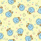 Seamless pattern with the alarm clock