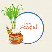 Happy Pongal, South Indian harvesting festival celebrations with beautiful mud pot, wheat grain and sugarcane on grey background.