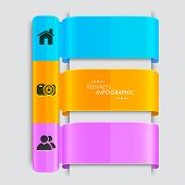 Stylish colorful paper layout of business infographic with 2.0 web icons on grey background.
