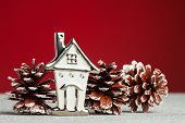Christmas home with festive pinecone