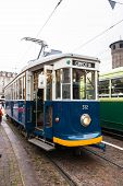 The blue historic tram in Turin