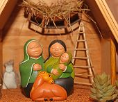 image of nativity scene  - statues of the Nativity scene with Holy Family in South American style - JPG