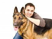 Man and German shepherd